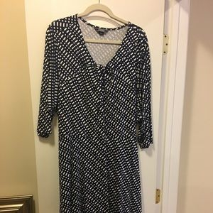Navy and white 3/4 length sleeve dress